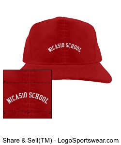 "YOUTH CAP ""Nicasio School"" Red and White Design Zoom"