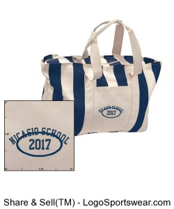 LARGE STRIPED CANVAS TOTE in Natural/Navy Design Zoom